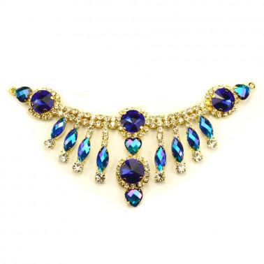 Украшение-горловина из камней., цвет золото+синий