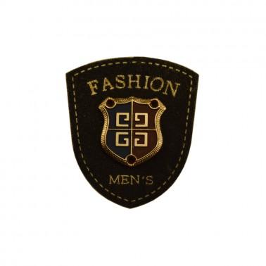 Нашивка декоративная кожа+метал., цвет черный