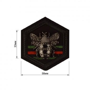 Нашивка декоративная замша+металл., жук,  цвет черный+оксид