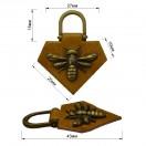 Нашивка декоративная кожа+метал., оса,  цвет коричневый+антик
