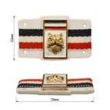 Нашивка декоративная кожа+метал., cова,  цвет белый+золото