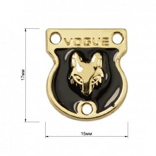 Украшение пришивное металлическое, цвет золото+черный