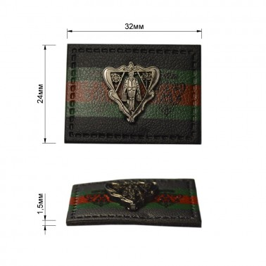 Нашивка декоративная кожа+металл.,  цвет черный+оксид