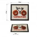 Нашивка декоративная кожа+металл., велосипед,  цвет белый+черный+красный