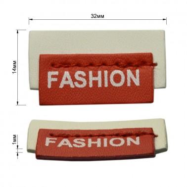 Нашивка декоративная кожа+металл.,Fashion,  цвет белый+красный