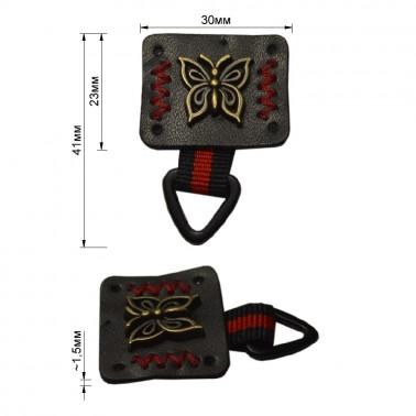 Нашивка декоративная кожа+металл., бабочка,  цвет черный+антик