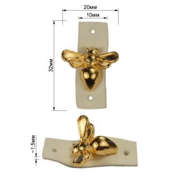 Нашивка декоративная кожа+металл., оса,  цвет белый+золото