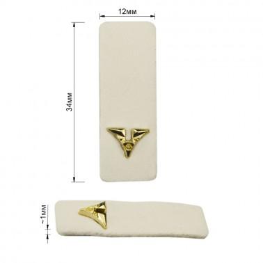 Нашивка декоративная кожа+металл.,  цвет белый+золото