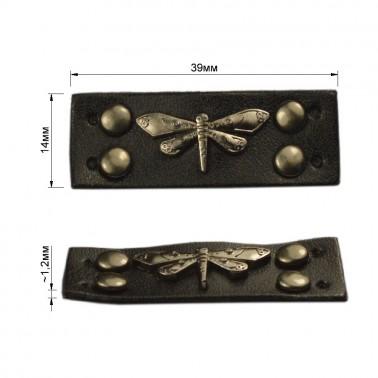 Нашивка декоративная кожа+металл., cтрекоза, цвет черный+оксид