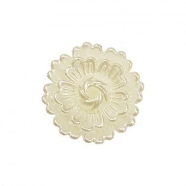 Украшение пришивное пластиковое, цветок, цвет перламутр