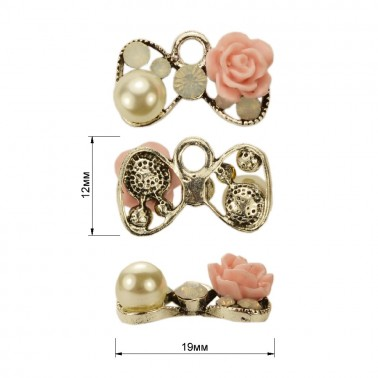 Украшение пришивное металлическое, цвет никель+белый+розовый