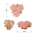 Украшение пришивное, цвет никель+розовый