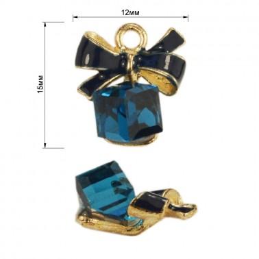 Украшение пришивное, цвет золото+голубой