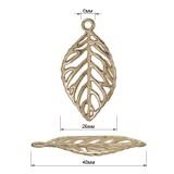 Украшение пришивное декоративное, листик, цвет никель