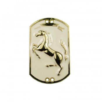 Украшение пришивное металлическое, лошадка с заливкой, цвет золото