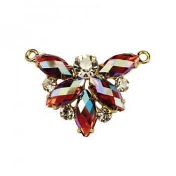 Украшение пришивное металлическое, бабочка из страз,  цвет красный+хамелеон