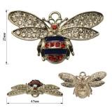 Украшение пришивное декоративное, пчелка, цвет никель+стразы