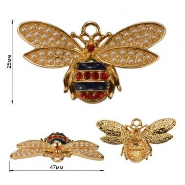 Украшение пришивное металлическое, пчелка, цвет золото+жемчуг