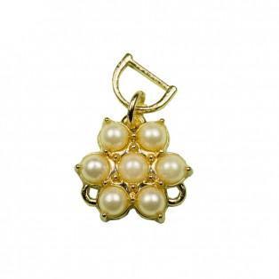 Подвеска-швейная фурнитура, цветок из жемчуга, цвет золото+белый
