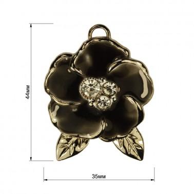Украшение пришивное металлическое., цвет никель+черный