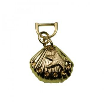 Украшение пришивное металлическое, ракушка, цвет золото