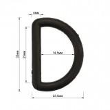 Полукольцо пластиковое, 2.5см, цвет черный