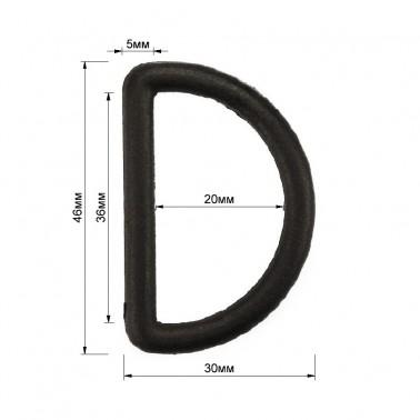 Полукольцо пластиковое, 3,5см, цвет черный