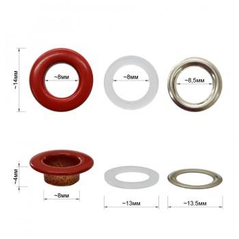 Люверс(блочка) металлический, 8*14мм, цвет красный