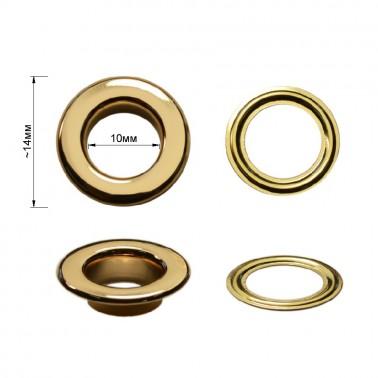 Люверс(блочка) металлический, 10*14мм, цвет золото