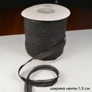 Лента флизелиновая прошитая по косой с тесьмой 1.3см, цвет черный
