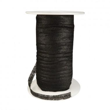 Лента флизелиновая прошитая по косой с ниткой 1см, цвет черный
