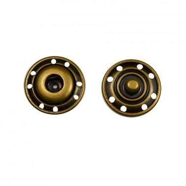 Кнопка металлическая, пришивная,22мм цвет антик