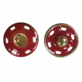 Кнопка металл, пришивная,17мм цвет золото+красный