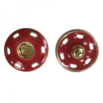 Кнопка металлическая, пришивная,17мм цвет золото+красный