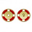 Кнопка металлическая, пришивная,21мм цвет золото+красный
