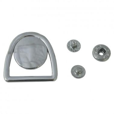 Кнопка установочная металлическая, 40*40мм цвет никель