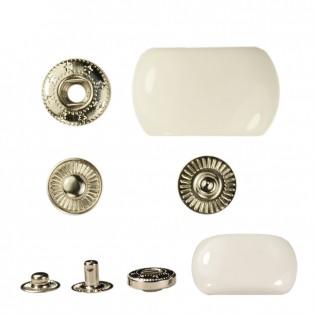 Кнопка установочная металлическая, 25мм цвет никель+ белый глянец