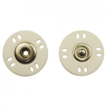 Кнопка пластиковая, пришивная,25мм цвет никель+белый