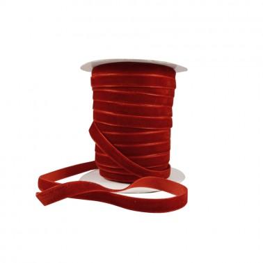 Лента бархатная 1см, цвет красный