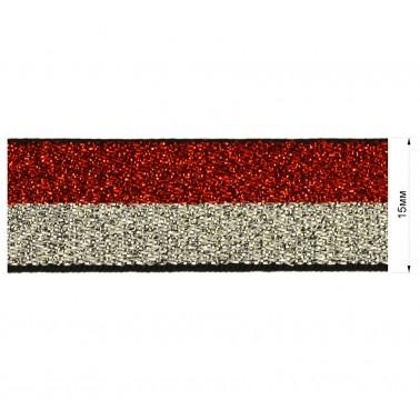 Резинка декоративная с люрексом 1.5см,  цвет красный+серебро