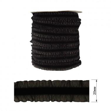 Резинка декоративная бархатная с рюшами, 2см, цвет черный