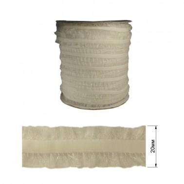 Резинка декоративная бархатная с рюшами, 2см, цвет белый