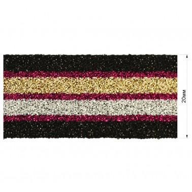 Резинка декоративная с люрексом 2см,  цвет черный+розовый+золото+серебро