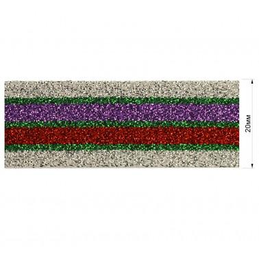 Резинка декоративная с люрексом 2см,  цвет серебро+зеленый+красный+фиолетовый