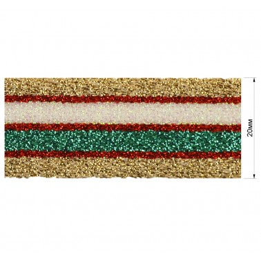Резинка декоративная с люрексом 2см,  цвет золото+красный+зеленый+белый