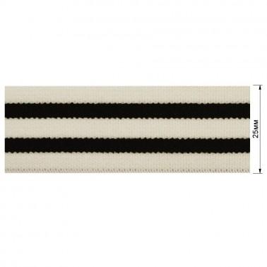 Резинка  декоративная 2.5см, цвет белый+черный