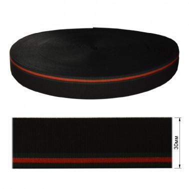 Резинка  декоративная 3см, цвет черный+3 полоски (зеленый+красный)