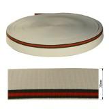 Резинка  декоративная 3см, цвет белый+3 полоски (зеленый+красный)