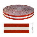 Резинка декоративная 3.8см,  цвет красный+белый