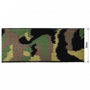 Резинка  декоративная 3,8см,  Милитари , цвет хаки
